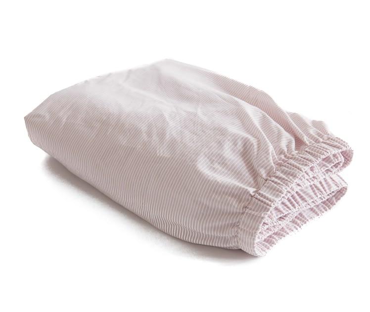 Hoeslaken katoen gestreept roze-wit