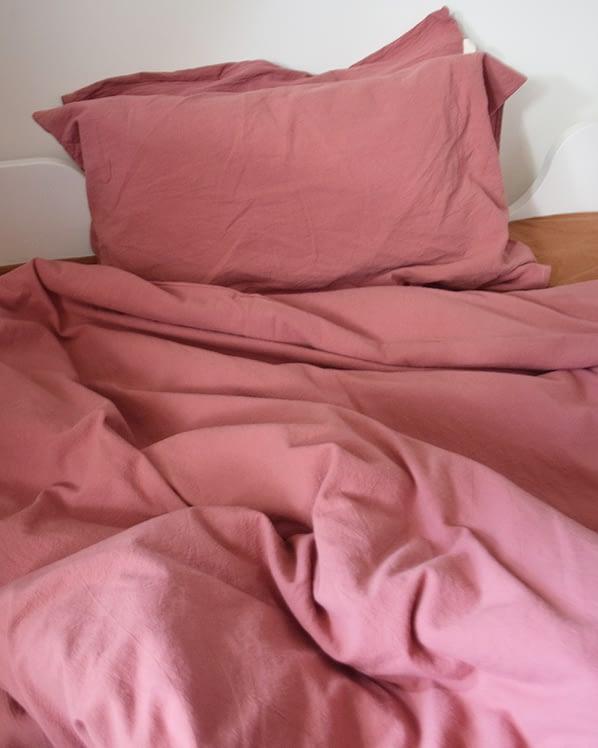 dekbedhoes gewassen katoen roze kinderen
